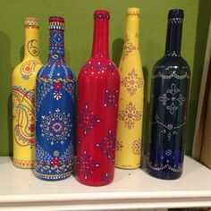 Variety of shape and color!my hand painted bottles, are all different in design. Mahsheed