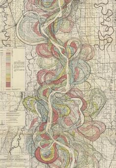This map, made by Harold Fiske in 1944, shows the many historical meandering routes of the lower Mississippi river.