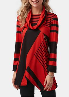 Red Asymmetric Hem Long Sleeve T Shirt   liligal.com - USD $31.11