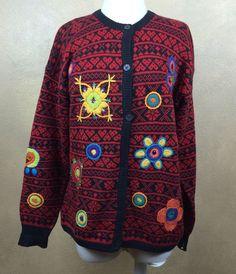 VTG Midnight Blues Rami Cotton Blend Embellished Cardigan Sweater M #MidnightBlues #Cardigan