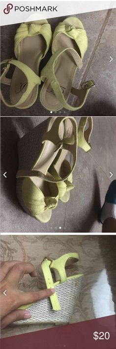 Yellow wedges Worn twice, sign of wear on toe area & glue spots. True to color, size 5.5 but best a size 5 Shoes Sandals