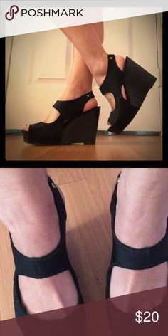Black Wedges Black wedges with nylon stop. Super cute and SUPER comfortable. I love these wedges! 4 inch heel but you would never guess. The nylon is what makes the shoe so comfortable. Great for the summertime! Never gave me a blister nor made me tired while wearing them. Simply Vera Vera Wang Shoes Wedges