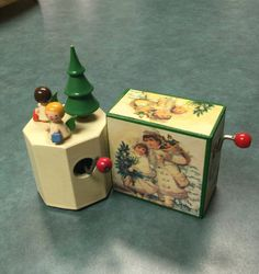 Vintage German Music Boxes that play Jingle Bells. The octagonal wooden music…