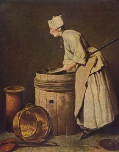 """Jean Simeon Chardin - """"Frau Geschirr scheuernd"""" -אישה מקרצפת כלים.  1736, PRIS."""