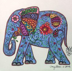 Original 6x6 Colorful Doodled Elephant