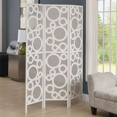 """Monarch Specialties I 463 3-Panel """"Bubble Design"""" Folding Screen 150.00 possible solution for the glare from the back door window (and wall)?"""