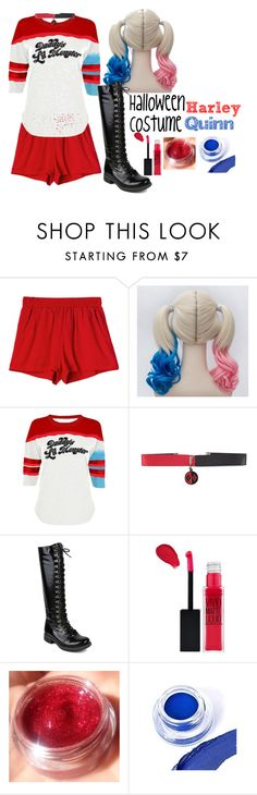 """Halloween Costume: Harley Quinn"" by darling-ange1 ❤ liked on Polyvore featuring Mark & Maddux, Maybelline and tarte"