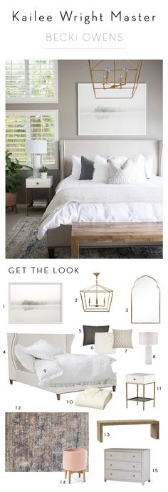 BECKI OWENS--Kailee Wright Master Bedroom Reveal. A fresh bedroom update with Benjamin Moore Greystone, crisp white linens, and gold accents.
