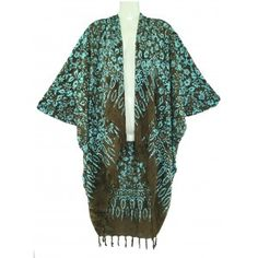 BROWN Batik Kimono Shawl Wrap Jacket Coverup 1X 2X