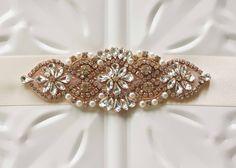 Bridal Sash, Rose Gold Rhinestone and Pearl Wedding Sash Belt, Ribbon Sash by MyVintageWeddingAust on Etsy