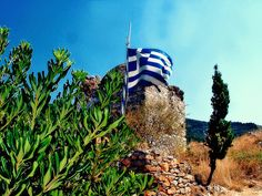 Greek flag at kastro Greek Flag, Greece Travel, Tours, Places, Image, Greece, Greece Vacation, Lugares