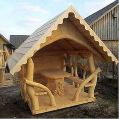 Unusual gazebo made from curved logs. Woodworking Enthusiasts, Woodworking Courses, Cool Woodworking Projects, Diy Wood Projects, Woodworking Plans, Woodworking School, Woodworking Techniques, Woodworking Furniture, Log Furniture