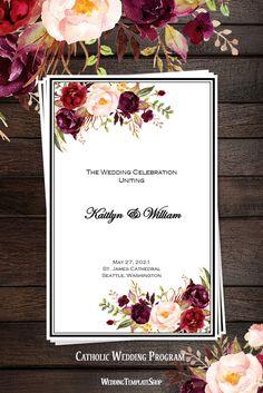 Burgundy, Red, Blush Pink, Marsala Catholic Wedding Program, Romantic Blossoms Design Series, You Edit & Print.
