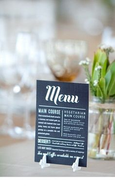 Digitally printed menu card with white perspex feet to stand upright #WeddingStationery