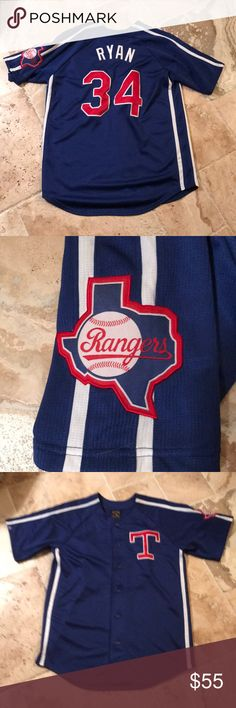 Nolan Ryan Texas Rangers Button Down Jersey A Majestic Nolan Ryan Texas Rangers Button Down Jersey. Only worn a few times. A small snag on the inside of the Jersey, no holes, tears or stains. Cooperstown Collection Other