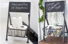 Our Storage Baskets are also a Chalkboard Easel that are a unique way to organize and store all your items! For more Wire Storage Baskets visit, www.decorsteals.com OR www.facebook.com/DecorSteals