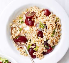 Sweet red grapes add a fruity twist to this satisfying side dish with a tangy mustard and red wine vinegar dressing
