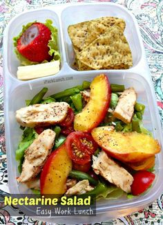 Nectarine salad packed for a healthy work lunch. | with @EasyLunchboxes containers