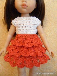 Уроки вязания крючком. Юбка с оборками для куклы / Мастер-классы, творческая мастерская: уроки, схемы, выкройки кукол, своими руками / Бэйбики. Куклы фото. Одежда для кукол