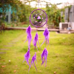 Flax Dream Catcher Net With feather Purple Hanging Wall Native Decoration | eBay