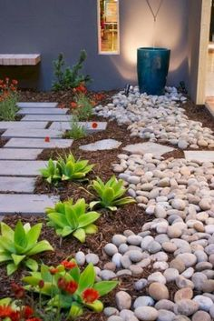 Cool 47 Relaxing Front Yard Rock Garden Landscaping Ideas. More at https://decoratrend.com/2018/03/31/47-relaxing-front-yard-rock-garden-landscaping-ideas/