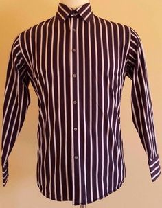 177cbebf2 HUGO Boss SHIRT Striped 16 1/2 32/33 MULTICOLOR Mens REGULAR Fit PURPLE Sz  ENZO