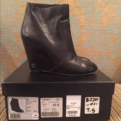 Chanel Black Leather Wedge Booties. size 37.5 Chanel Black Wedge Booties with Patent Leather Toe. Excellent condition, worn only once. Originally purchased in NYC. CHANEL Shoes Ankle Boots & Booties