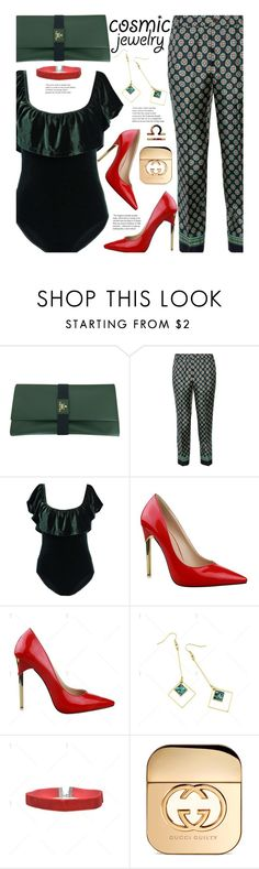 """""""What's Your Sign: Cosmic Jewelry"""" by beebeely-look ❤ liked on Polyvore featuring Prada, J.Crew, Gucci, vintage, velvet, ruffles, streetwear, twinkledeals and cosmicjewelry"""