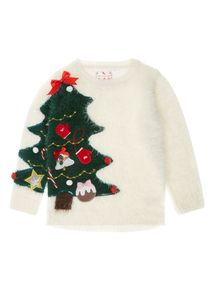 Girls Cream Christmas Tree Jumper (3-12 years) Festive Jumpers, Christmas Jumpers, Christmas Sweaters, Christmas Tree Jumper, Xmas Tree, Green Christmas, Baby Knitting, Knitwear, Baby Kids