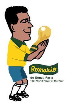 ロマーリオRomario(ブラジル)の似顔絵イラスト