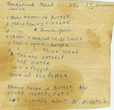 "Share old family recipes with your family (this is from the ""Appalachian Ancestry Journal: Family Recipe Friday-Nana's Barbecued Meat Sauce"") Retro Recipes, Old Recipes, Vintage Recipes, Cooking Recipes, Marinade Sauce, Meat Sauce, Appalachian Recipes, Barbecue Sauce, Bbq Sauces"
