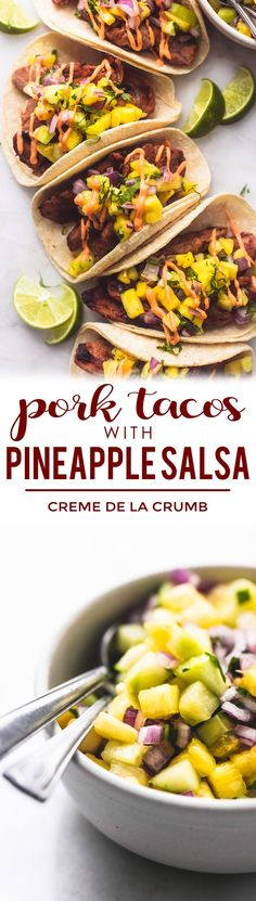 delicious Pork Tacos with Pineapple Salsa go from stovetop to table in a mere 30 minutes! No one will be able to resist these tangy flavorful tacos with a touch of sweetness that will have your family begging for seconds. Pork Recipes, Mexican Food Recipes, Cooking Recipes, Healthy Recipes, Easy Recipes, Budget Cooking, Oven Recipes, Vegetarian Cooking, Easy Cooking