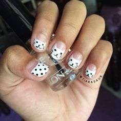 Cat nail art. Tutorial how to shape CAT HEAD perfectly is coming up next :) #catnailart #tiarasaur