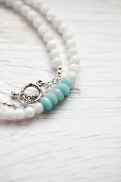 White glass bead Necklace with mint accent