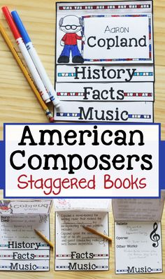 American Composers Staggered Books Set 1 Music Classroom, Music Teachers, Music Education, Health Education, Physical Education, Music Worksheets, Elementary Music, Elementary Schools, Music Lessons