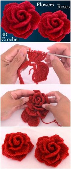 Just crochet red roses - knitting is as easy as 3 knitting . - Just crochet red roses – knitting is as easy as 3 knitting comes down to three essential sk - Roses Au Crochet, Crochet Motifs, Crochet Flower Patterns, Crochet Flowers, Crochet Stitches, Crochet Baby, Knitting Patterns, Knit Crochet, Crochet Flower Tutorial