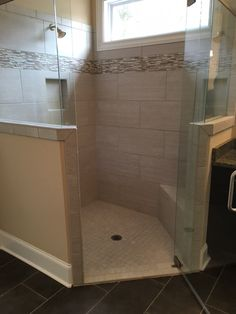 """UPGRADE:  Shower Floor - 2x2 Mosaic - Contessa Pewter. Accent tile -   6"""" band of Marble Contempory Blend - Sticks HiLo  Shower Wall Tile - 12x24 Contessa Pewter with Driftwood #543 Grout. www.windsonglife.com"""