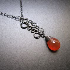 Carnelian Bubble Necklace with your choice of Gemstone - Oxidized Sterling Silver handmade wire wrapped