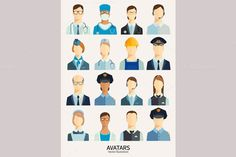 Set of avatar icons. Professions. by goodreason on Creative Market