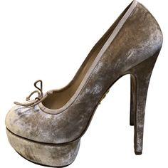 Velvet heels Charlotte Olympia Beige size 39 EU in Velvet - 6679192 Shoes Heels, Pumps, Velvet Color, Charlotte Olympia, Luxury Consignment, Peep Toe, Slippers, Beige, Stuff To Buy