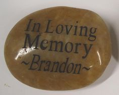 Personalized Memorial Stones are a great way to honor the memory of your loved one forever. A great idea for a funeral favor or memorial gift. Minimum order 100. Questions? Call 800-465-0553