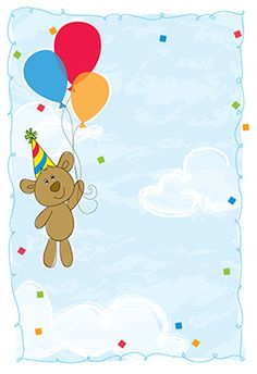 """""""Osito y globos"""" printable invitation. Customize, add text and photos. print for free!"""