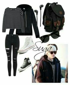 """Suga inspired airport outfit"" by ❤ liked Kpop Fashion Outfits, Korean Outfits, Mode Outfits, Casual Outfits, Girl Outfits, Look Fashion, Teen Fashion, Korean Fashion, Tumblr Herbst Outfits"
