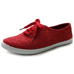 AmazonSmile | Ollio Women's Ballet Shoe Lace Up Sneaker Canvas Flat ML027(8.5 B(M) US, Red) | Fashion Sneakers