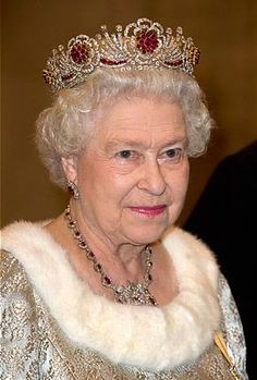 The Queen always wears a statement piece of jewelry when she makes a formal appearance. Most notably are what she wears atop her head. The crowns and tiaras only a true queen could pull off. Girls of Great Britain and Ireland Tiara The … Royal Crown Jewels, Royal Crowns, Royal Tiaras, Royal Jewelry, Tiaras And Crowns, Flower Tiara, Burmese Ruby, Princesa Kate, Isabel Ii