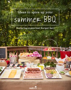Spice up your summer BBQ with a mouthwatering tablescape and gourmet burger bar! From @cardstore #partyideas