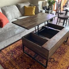 Coffee Table Storage, Coffee Table With Hidden Storage, Lift Up Coffee Table, Rustic Coffee Tables, Dark Wood Furniture, Cool Furniture, Apartment Furniture, Apartment Living, Living Room Redo