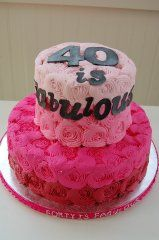 Pink ombre swirls for a fabulous 40th birthday cake