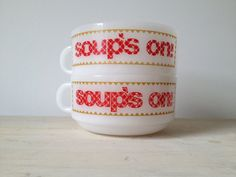 Set of Four Vintage Glasbake Handled Soup Bowls in Red, Yellow and ...