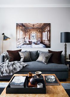 Bachelor pad decor ideas, bachelor pad living room, living room decor ideas, masculine decor, neutral living room apartment ideas 70 First Apartment Decorating Ideas on A Budget - HomeSpecially Manly Living Room, Masculine Living Rooms, Cozy Living Rooms, Living Room Furniture, Living Room Decor, Masculine Apartment, Living Room Ideas For Guys, Masculine Home Decor, Masculine Interior